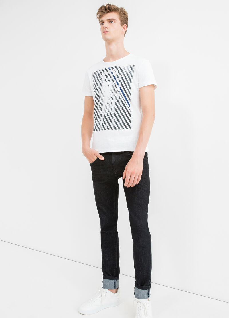 Cotton T-shirt with print front and back