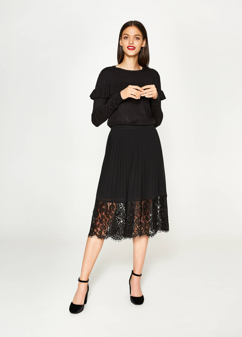 Pleated longuette skirt with lace image number null