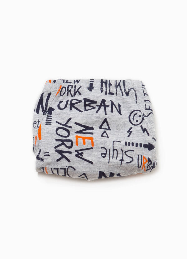 Briefs in stretch cotton with lettering pattern | OVS