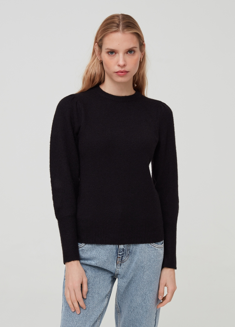 Pullover girocollo maniche a palloncino image number null