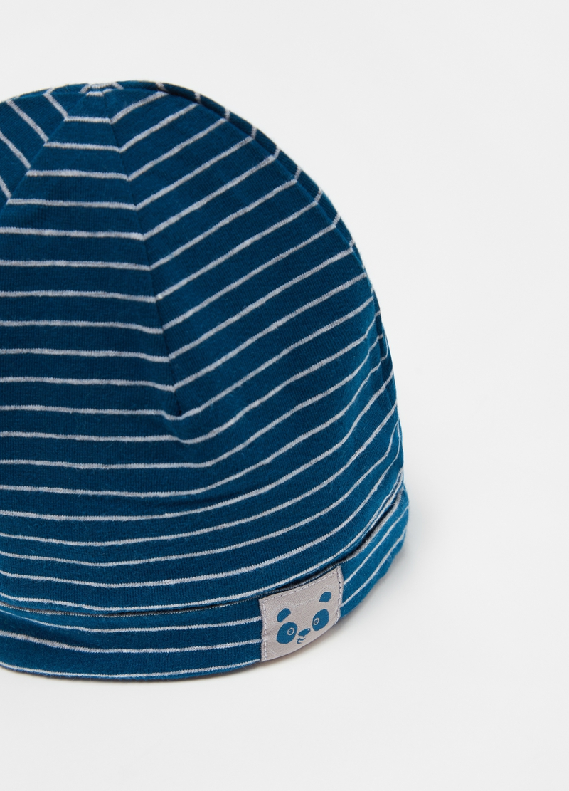 Striped jersey hat with panda patch image number null