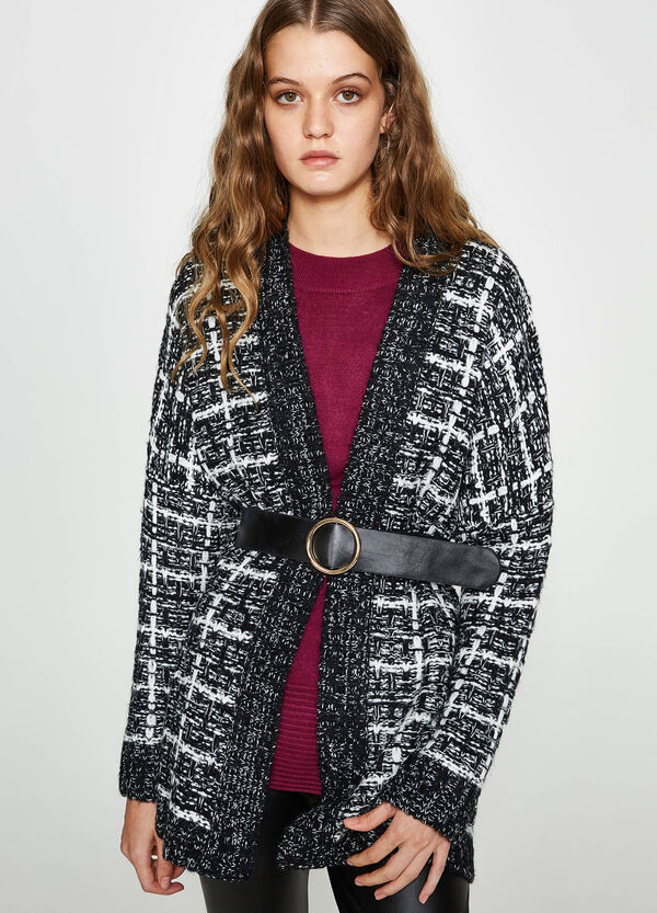 Knitted and patterned cardigan
