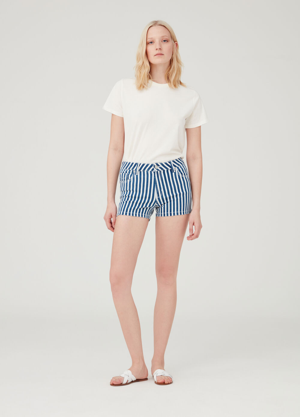 Stretch denim shorts with five pockets and stripes