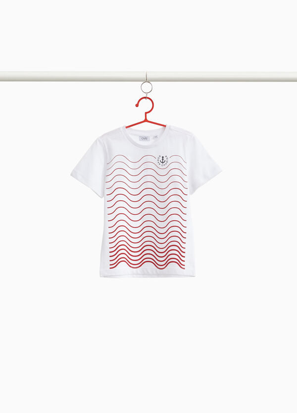 Printed cotton T-shirt with wavy stripes