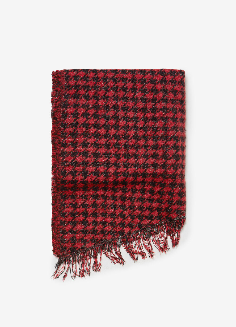 Scarf with hounds' tooth patterned lurex