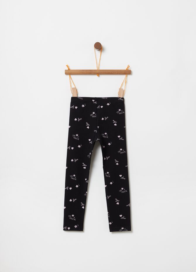 Leggings cotone stretch stampa lettering