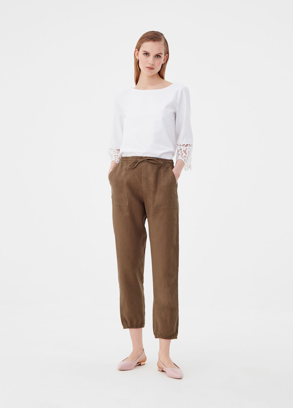 Utility joggers in puro lino con coulisse