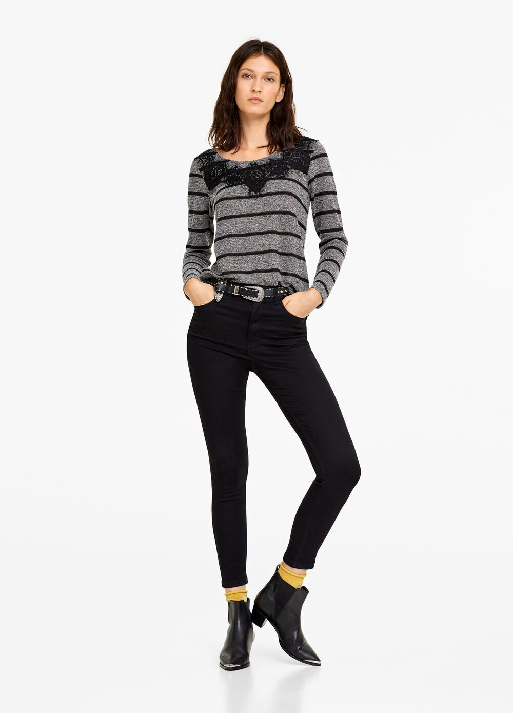 Striped T-shirt with lace insert