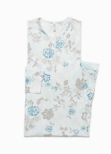 Floral cotton and lace nightshirt