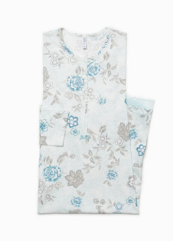 Floral cotton and lace nightshirt | OVS