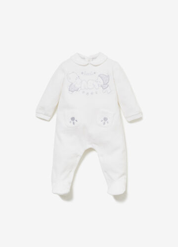 Romper suit with animal embroidery