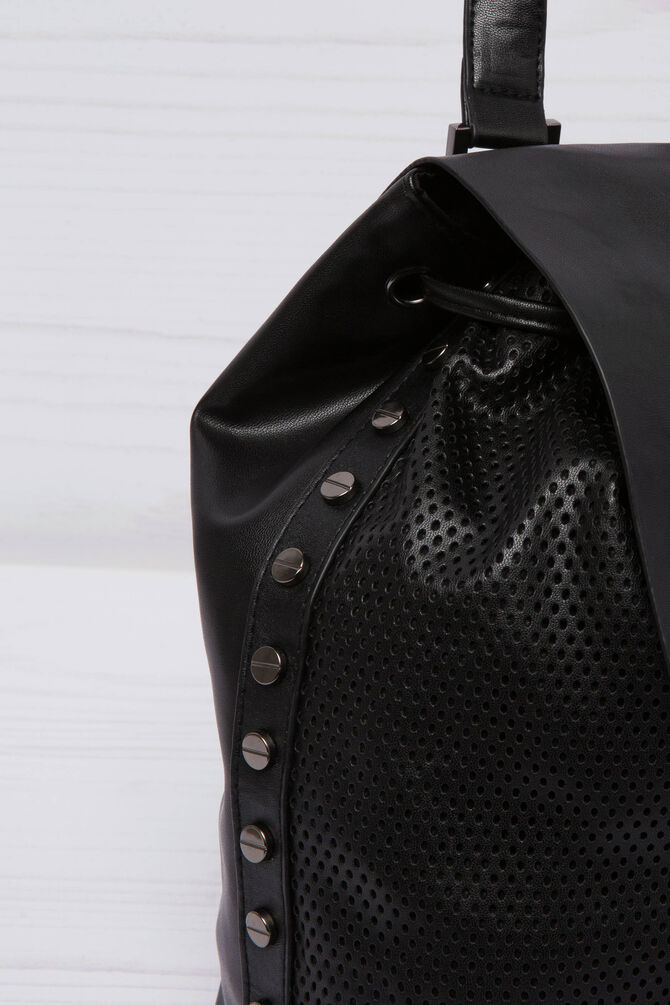 Leather look backpack with openwork insert