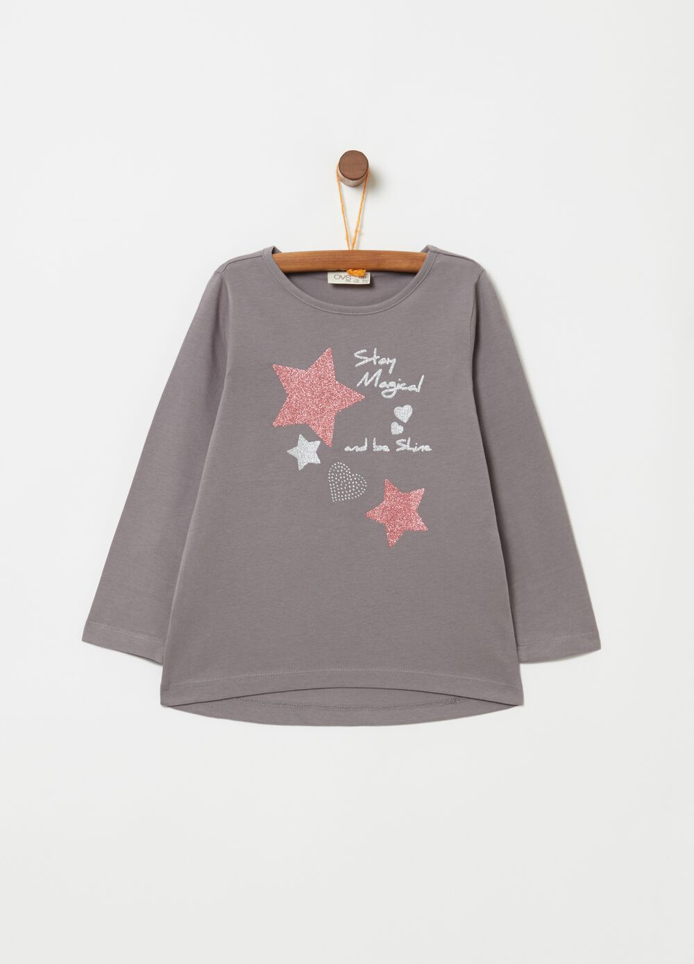 100% cotton T-shirt with print and glitter