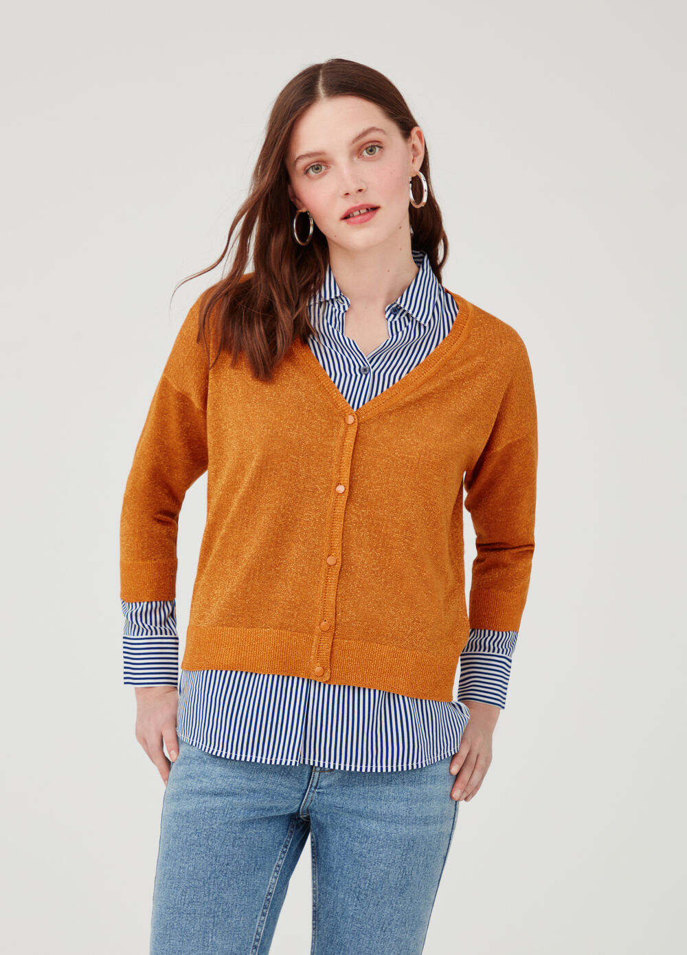 Cardigan with lurex and buttons