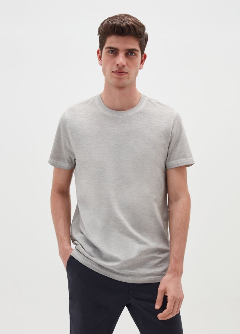 Misdyed-effect T-shirt with round neck image number null