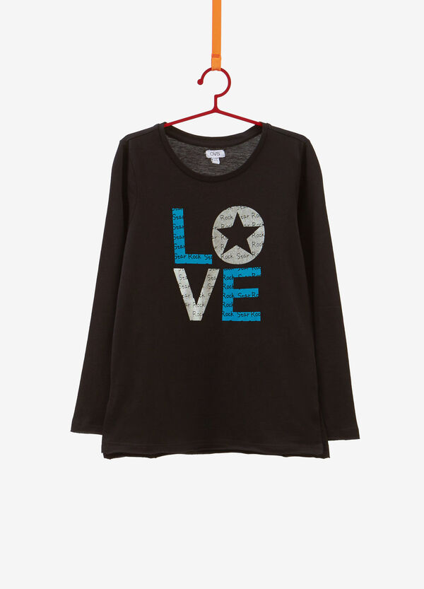 T-shirt cotone stampa lettering glitter