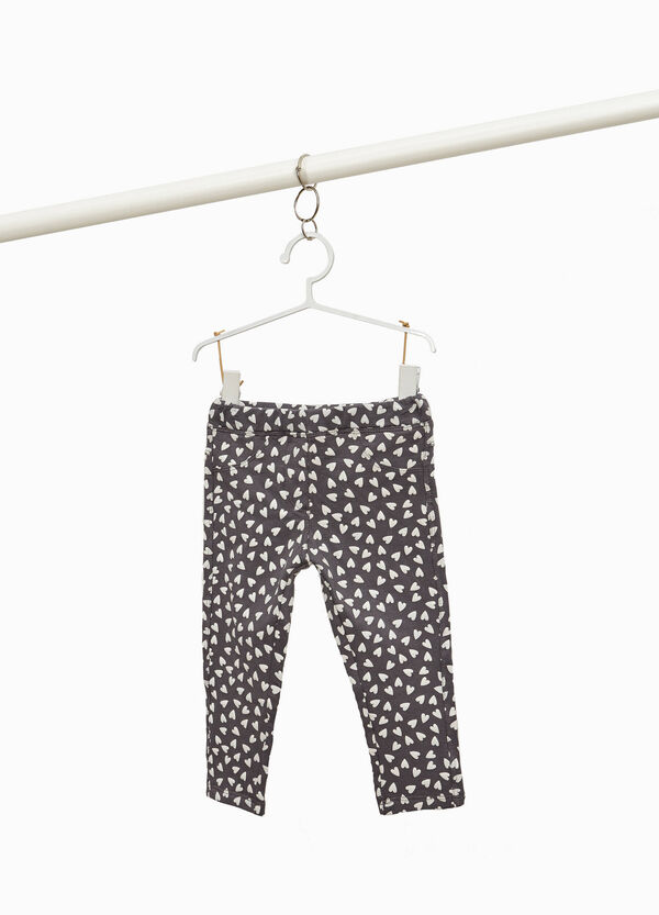 All-over heart print trousers