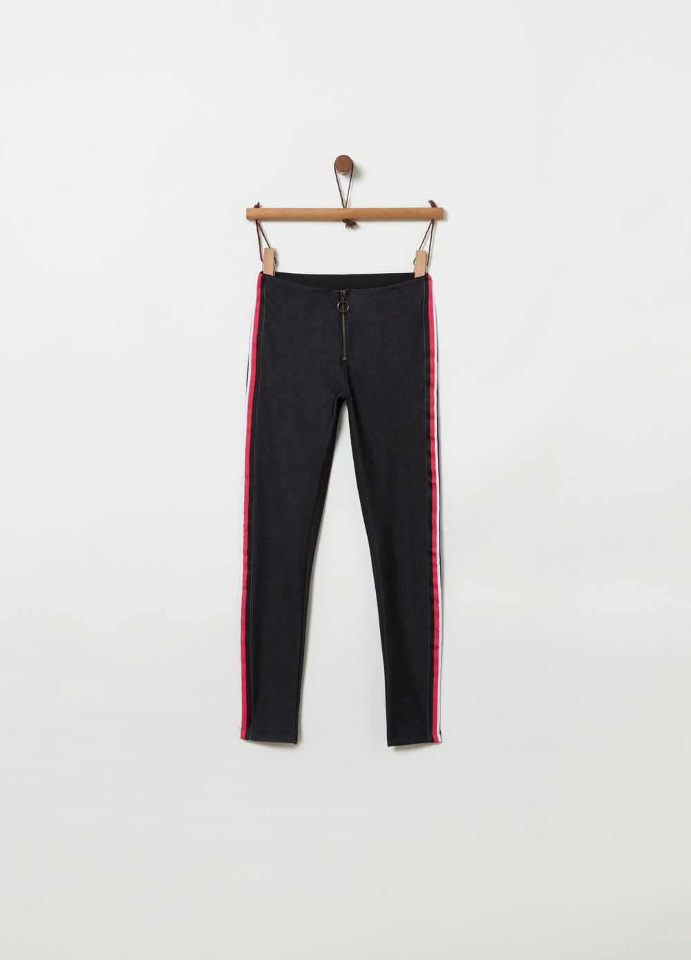 Washed-effect jeggings with striped ribbing
