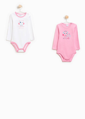 Two-pack bodysuits with owl print