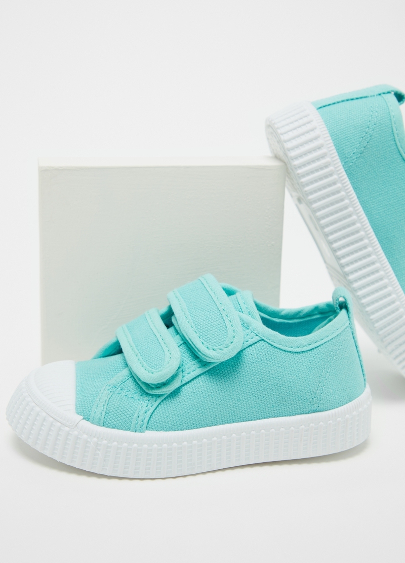 Sneakers in cotone con strappi stretch image number null