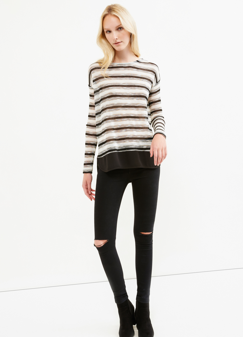 Viscose and lurex sweatshirt with striped pattern image number null