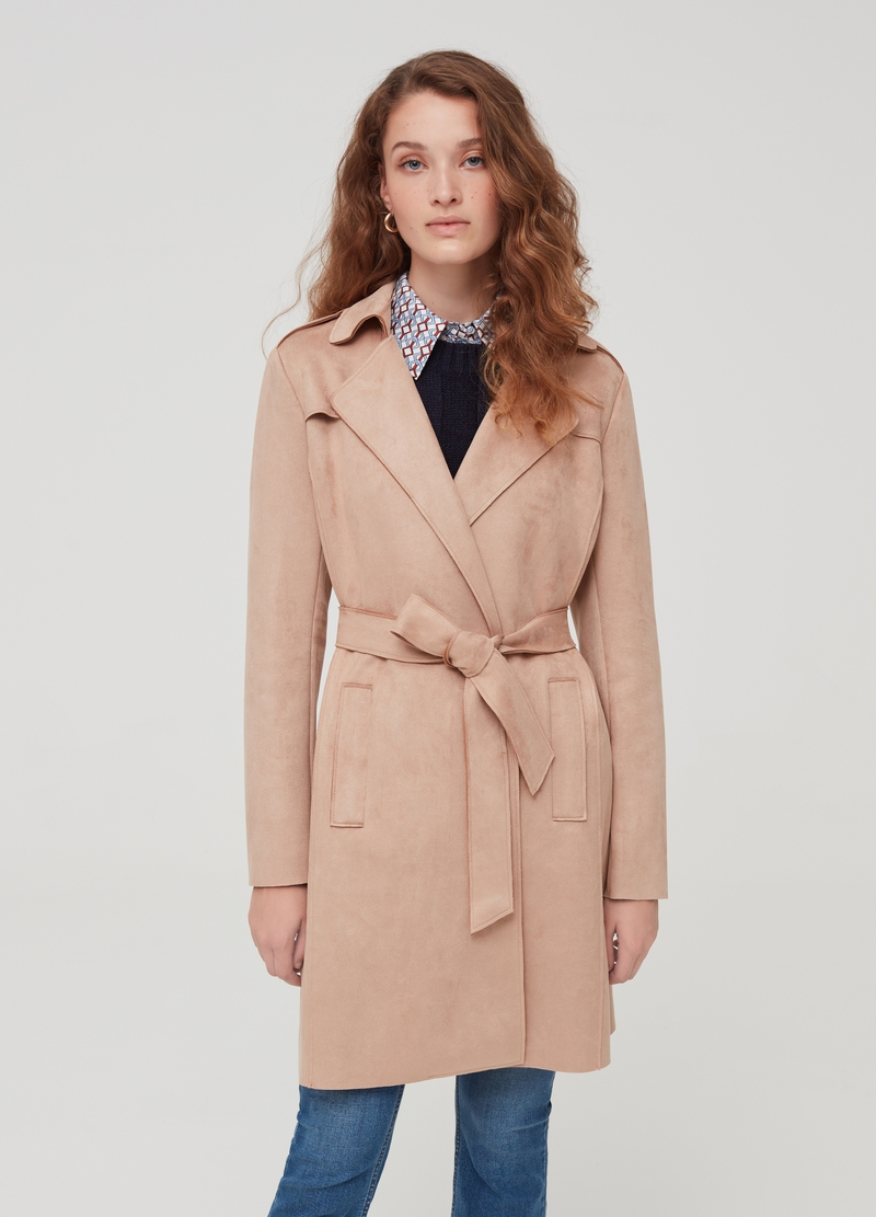 Trench con revers in eco suede image number null