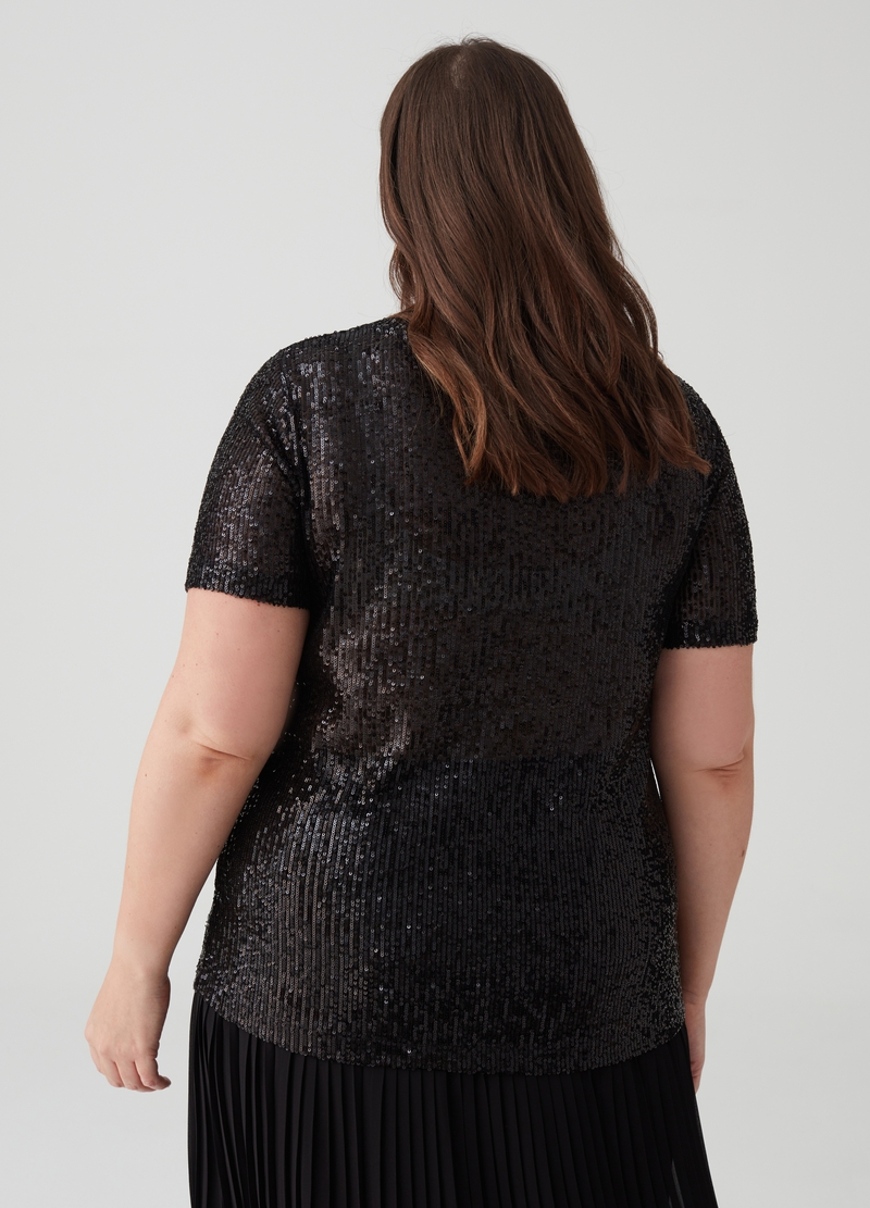 Curvy stretch T-shirt with sequins image number null