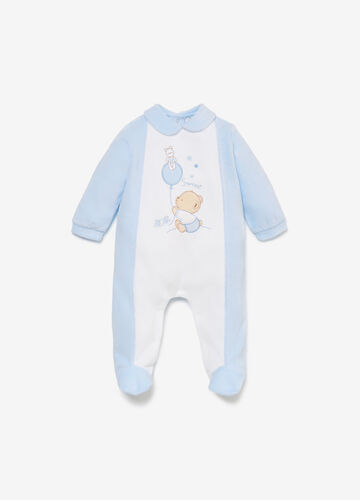 Romper suit with embroidery and animal patches