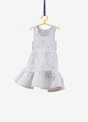 Sleeveless dress with flounce and glitter stars