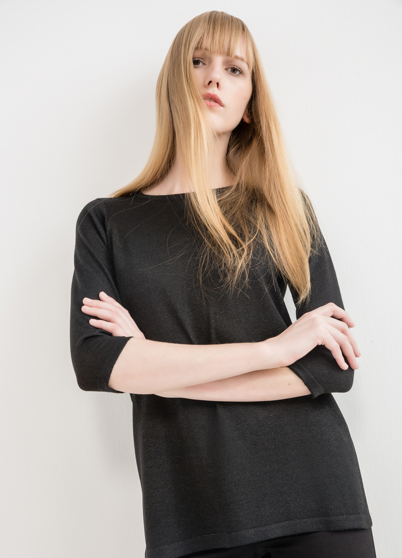 Pullover with three-quarter sleeves and splits image number null