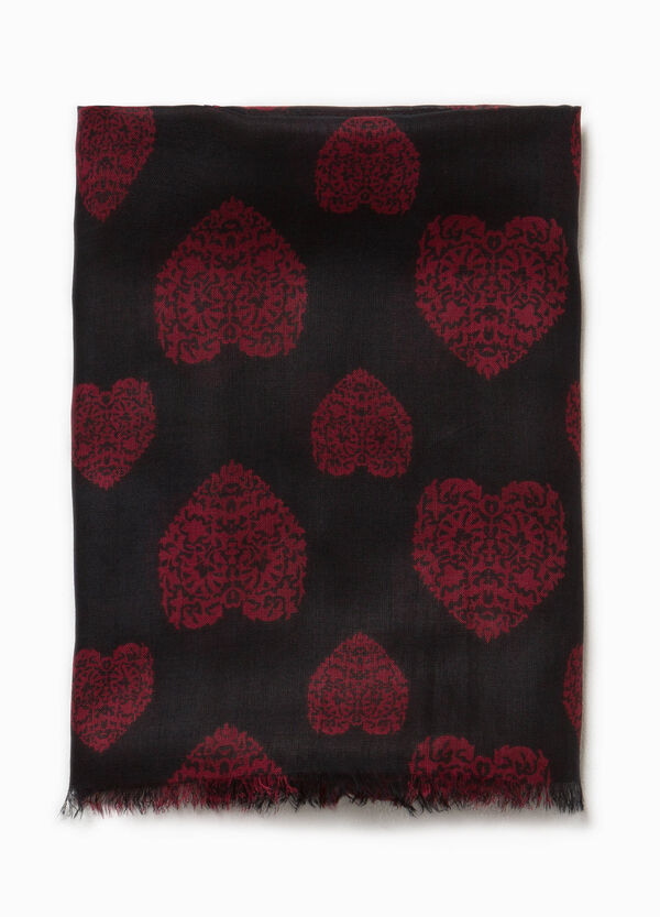 Pashmina in viscose with heart pattern | OVS