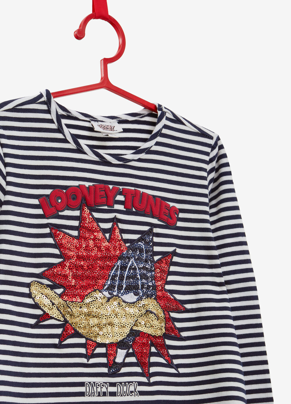 Stretch cotton Daffy Duck T-shirt with stripes
