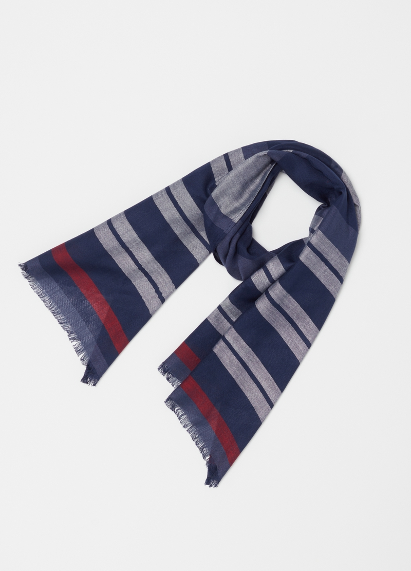 Striped pashmina in 100% viscose image number null