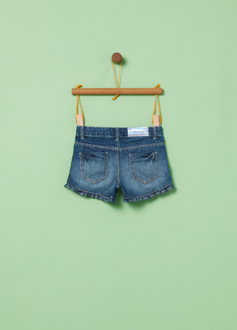 Shorts in denim effetto used cinque tasche image number null