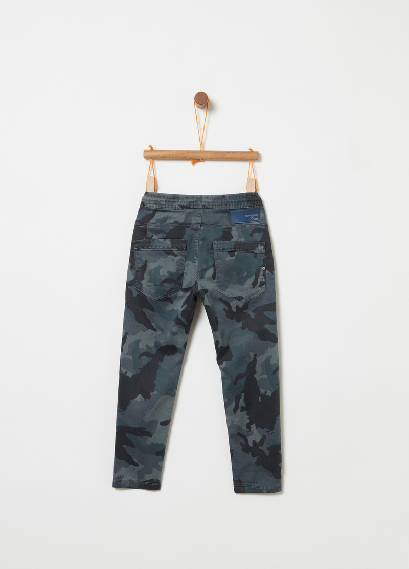 Stretch denim joggers with pattern image number null