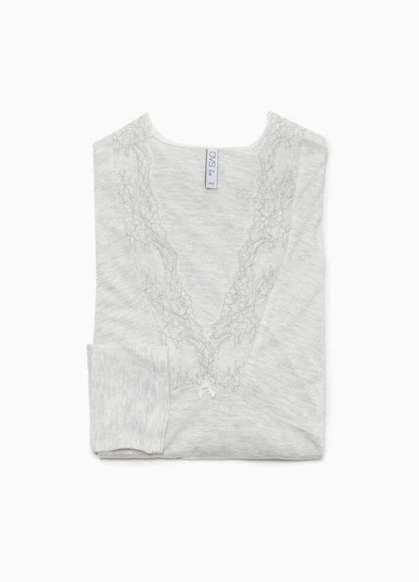 100% viscose pyjama top with lace