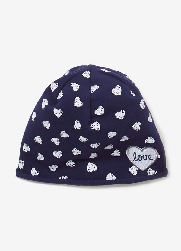 Jersey beanie cap with heart pattern