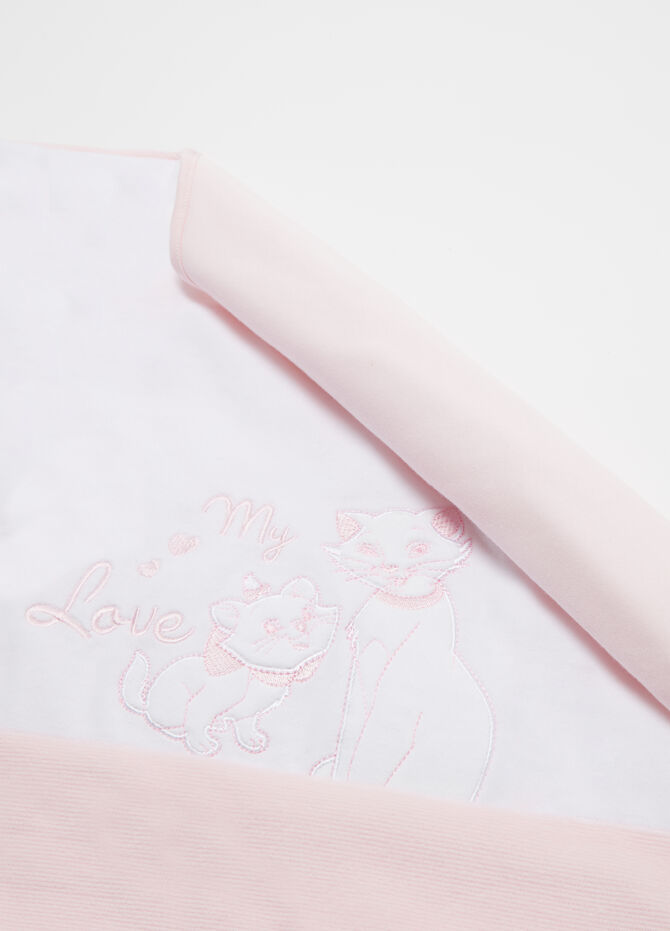 Two-tone blanket with The Aristocats embroidery