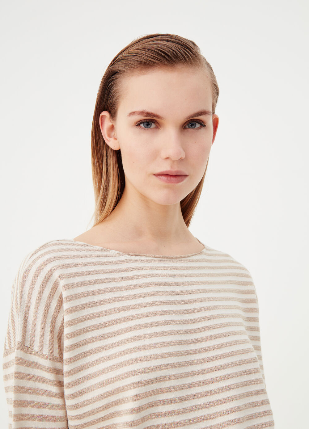 Striped top with lurex yarn