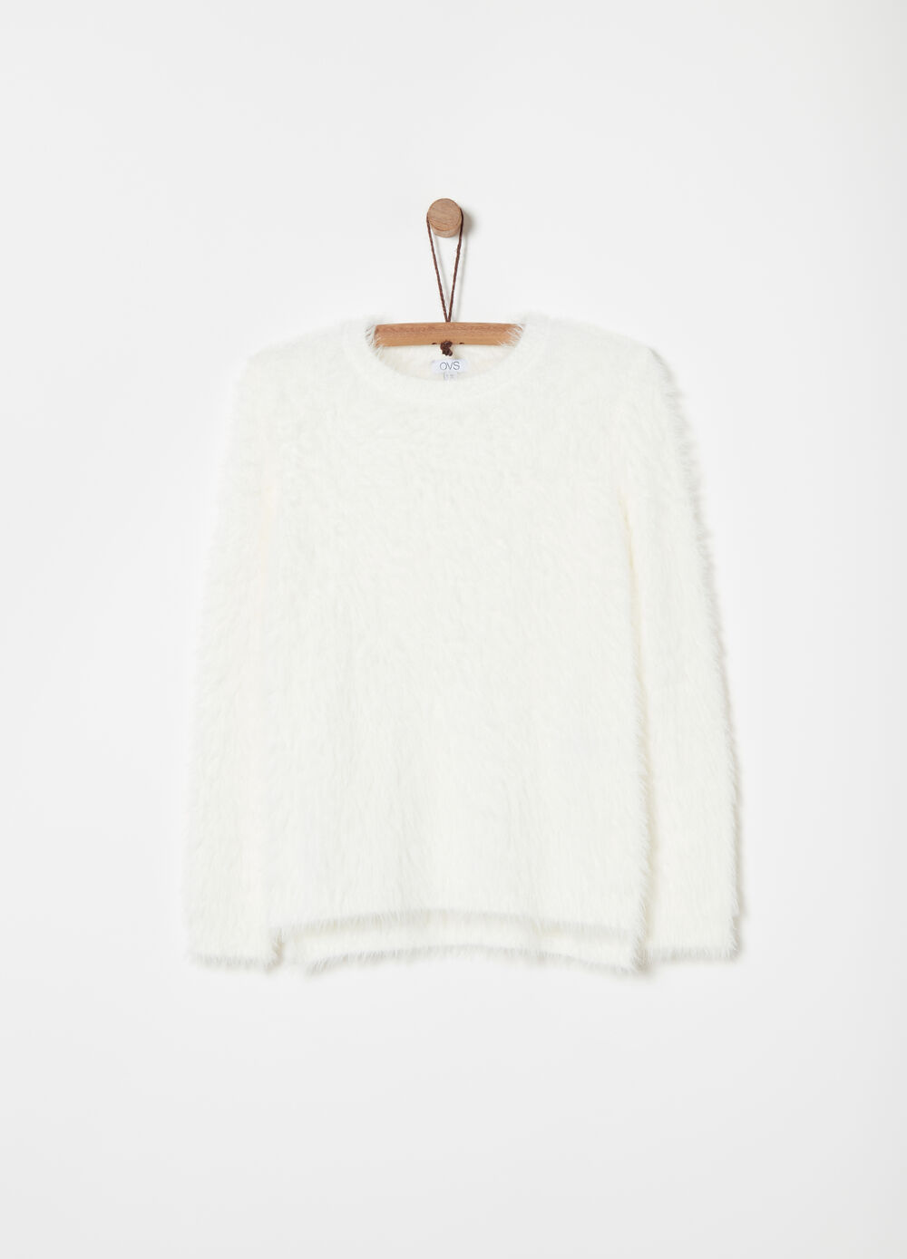 Pullover girocollo in filo furry