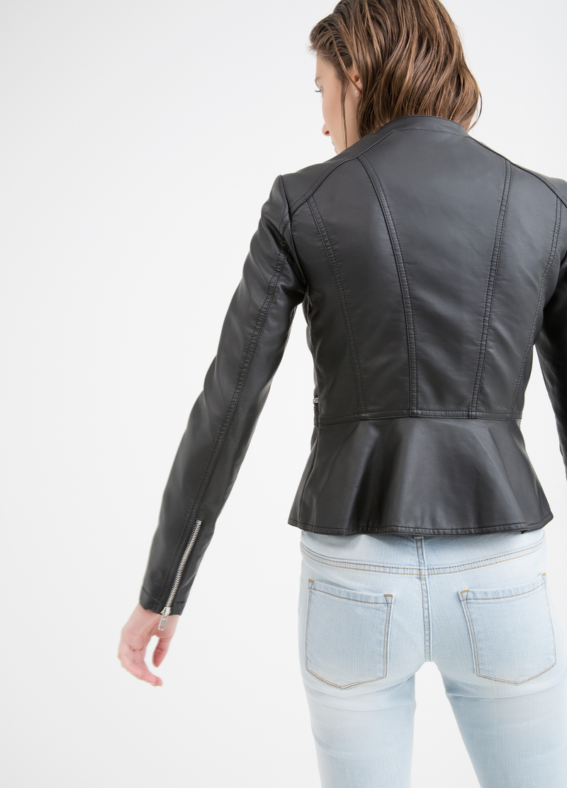 Solid colour leather look jacket image number null