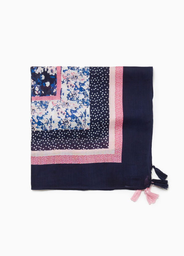 Floral and polka dot viscose pashmina