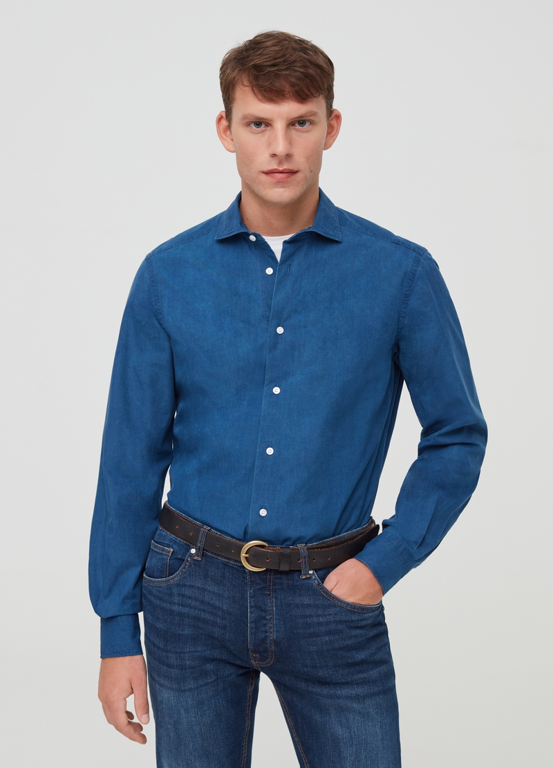 PIOMBO Camicia in denim puro cotone colletto francese image number null