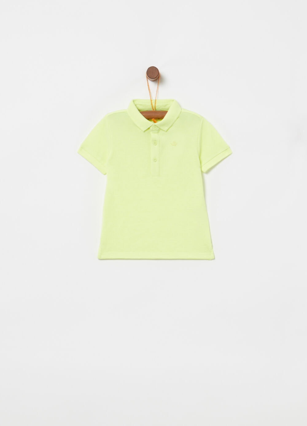 Piquet polo shirt with ribbing and embroidery