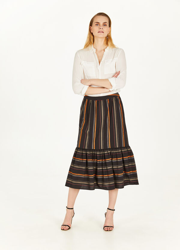Striped cotton longuette skirt