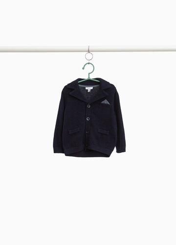 Cotton cardigan with lapels and pocket handkerchief