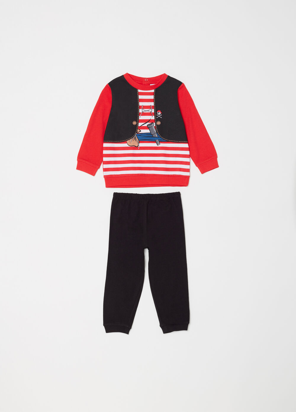 Striped and printed full-length pyjamas in 100% cotton