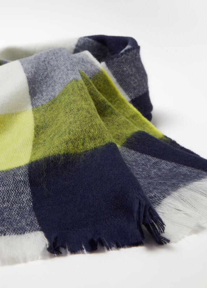 Maxi jacquard scarf with check pattern