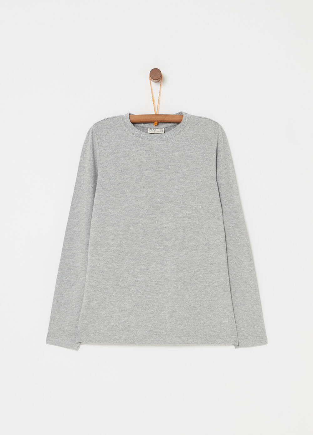 Long-sleeved T-shirt with diamantés