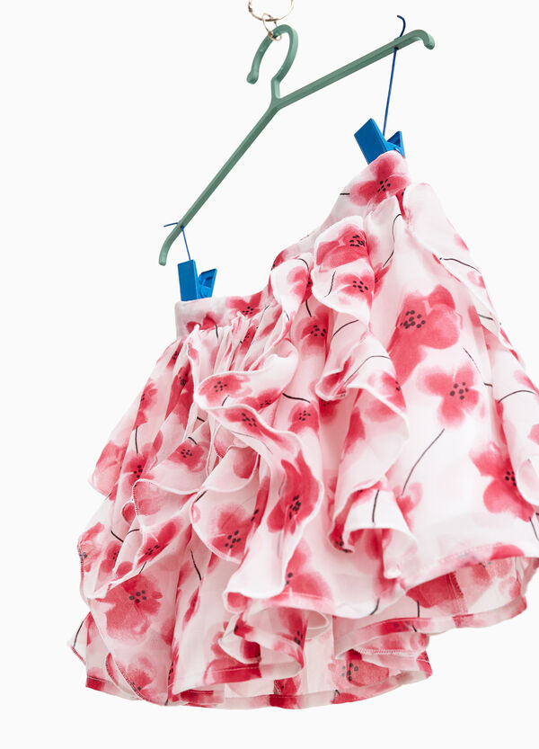 Georgette skirt with floral flounce